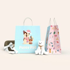 full colour print on 120g white Kraft paper bags featuring a colourful design in the side gusset and twisted paper handles