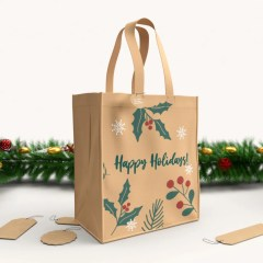 PP non-woven bag with a simple multicolour print on a beige colour base with no lamination