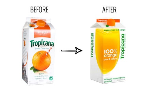 Before and after of tropicana's poor packaging decisions to rebrand their orange juice