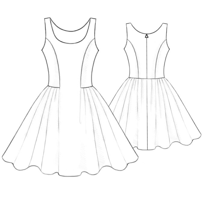 Dress Sewing Pattern Drawing Sketch Coloring Page