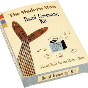 A cardboard beard grooming kit.