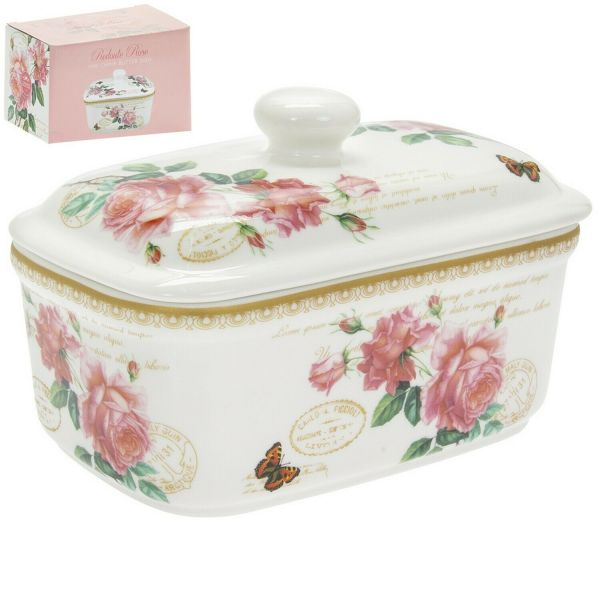 Floral pattern on a white butter dish