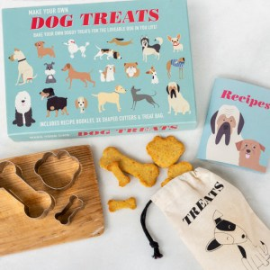 A picture of the blue packaging, and the treat cutters, recipe book and cute treat bag