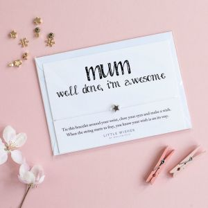 """A bracelet carded on white card with text that reads """"Mum, Well done I'm awesome"""""""