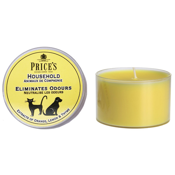 A yellow candle with a silhouette of a cat and a dog on the packaging, household scent variation