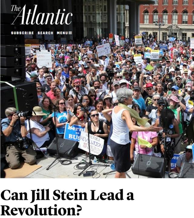 """Capture d'écran d'une photo d'un rassemblement de Jill Stein à Philadelphie où l'on ne voit que des Pancartes """"Bernie"""" ou """"Bernie or Bust"""" - Publiée sur le site 27 Juillet 2016"""