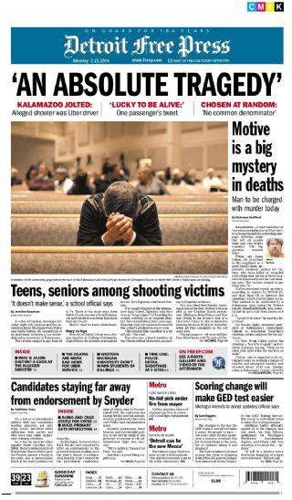 Couverture du Detroit Free Press, le principal quotidien du Michigan au lendemain du Kalamazoo Mass Shooting