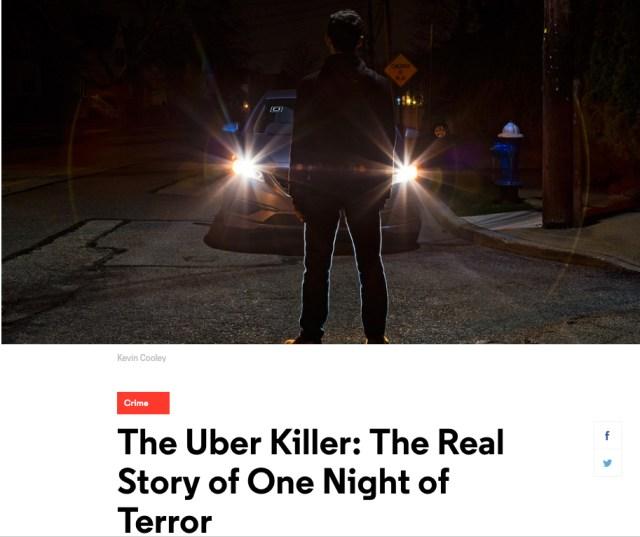 """Capture d'écran de l'article """"The Uber Killer"""" publié sur GQ.com par Chris Heath"""