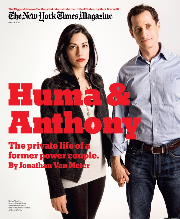 Couverture du New York Times magazine du 14 Avril 2013 avec Huma Abedin et Anthony Weiner en couverture