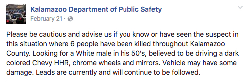 MIse en garde sur les incidents de la soirée du 20 février 2016 sur le compte Facebook de la police de Kalamazoo