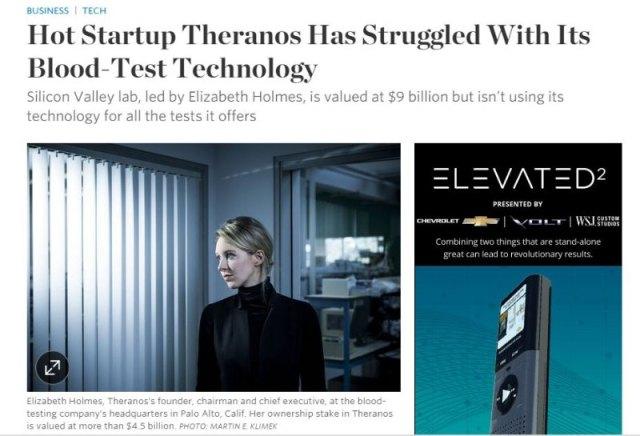 Publication en ligne de l'article du Wall Street Journal qui va précipiter la débâcle de Theranos