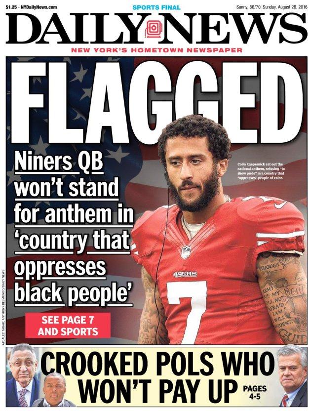 """Couverture du New York Daily News du dimanche 28 Août 2016: """"Flagged"""""""