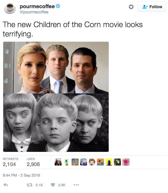 """Comparaison des enfants Trump avec les enfants du film inspiré du livre de Stephen King """"Children of the Corn"""". Twitter/Pourmecoffee"""