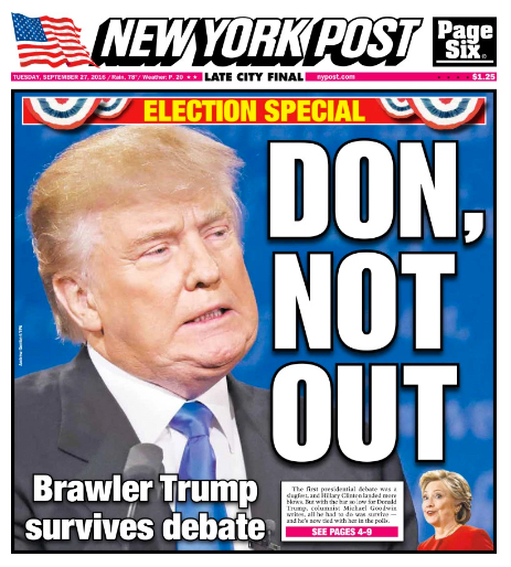 New York Post - Edition du mardi 27 septembre 2016