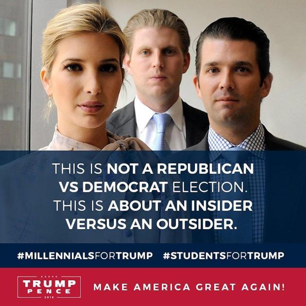 Nouveau Slogan et affiche #millenialsfortump et #studentsfortrump avec les trois enfants de Donald Trump: Ivanka Trump, Eric Trump et Donald Trump Jr