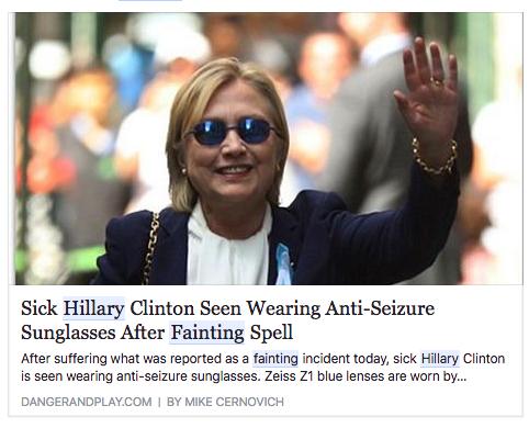 Hillary Clinton malade porte des lunnettes anit-épilepsie après son malaise