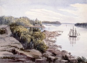 Grosse Île en 1832La ferme de Pierre Duplain sur la Grosse Île avant l'établissement de la station de quarantaine en 1832