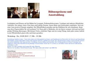 Workshop Bühnenpräsenz und Ausstrahlung