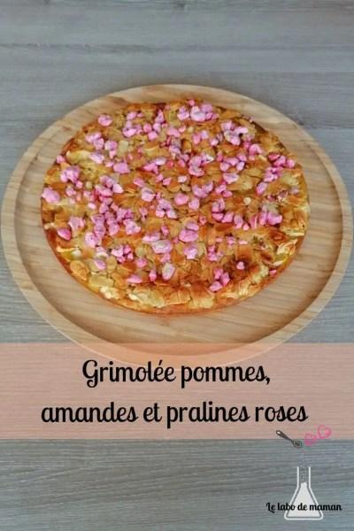 Grimolée, pommes, amandes, pralines roses, companion, gâteau