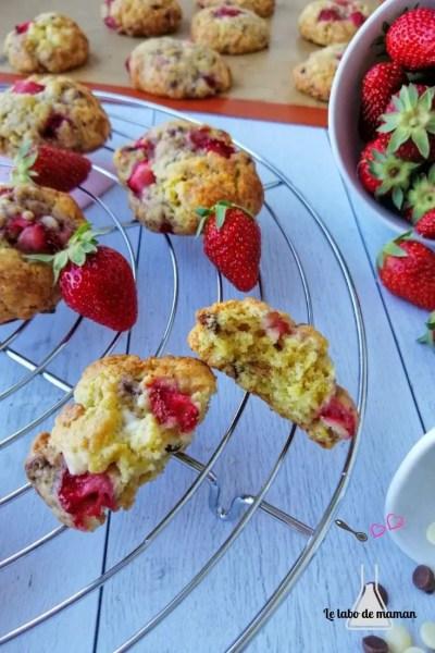 cookies fraises chocolat