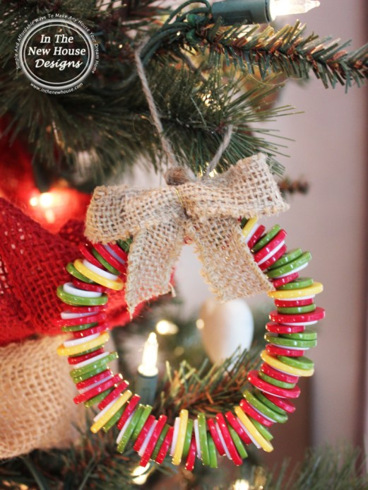 Christmas Tree Ornament made with twine, burlap, and buttons
