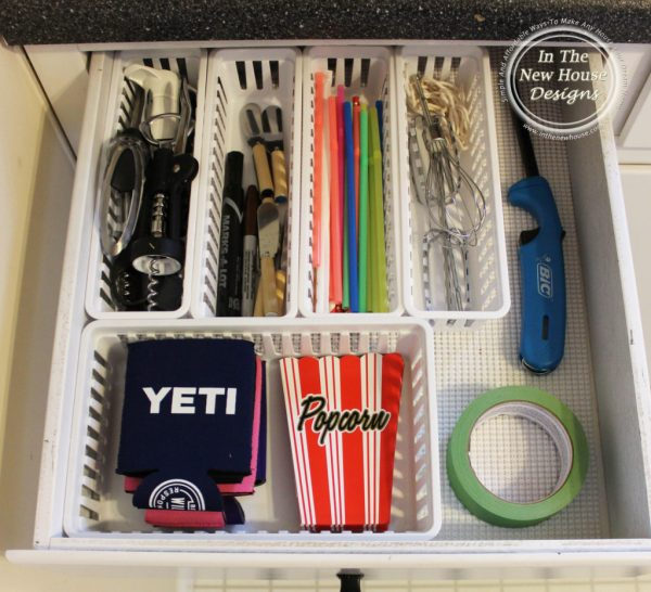 Organize your junk drawer with some baskets from the Dollar Store