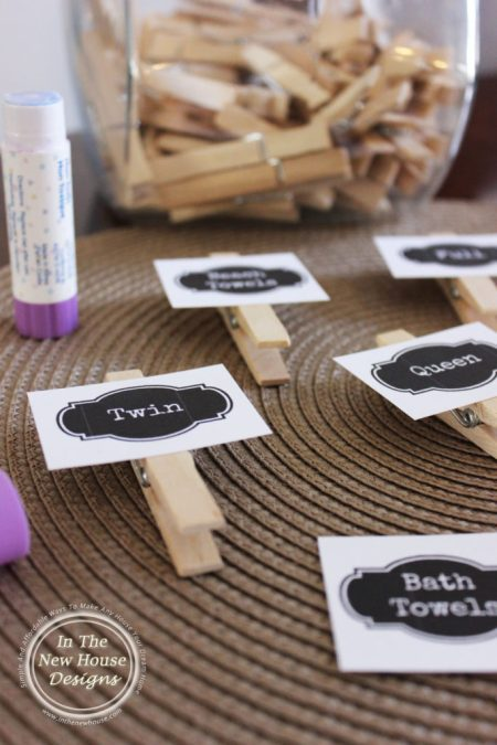 Clothespin Linen Closet Labels