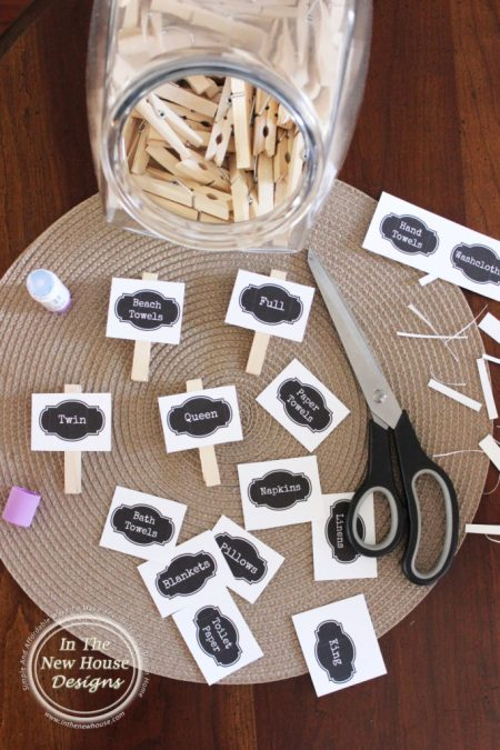 Easy DIY Clothespin Labels for Linen and Laundry Closets