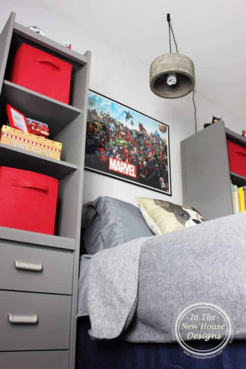 Gray and red big boy room