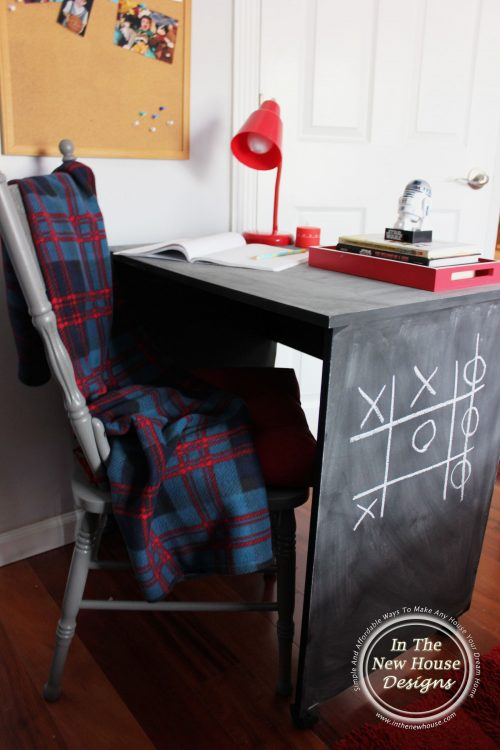 use leftover chalk paint to make over an old desk for kids