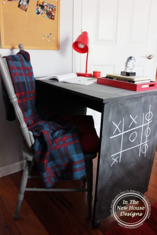 Paint a child sized desk with chalkboard paint
