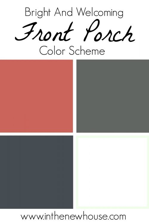 Bright and Welcoming Front Porch Color Scheme with coral, gray, white, and navy