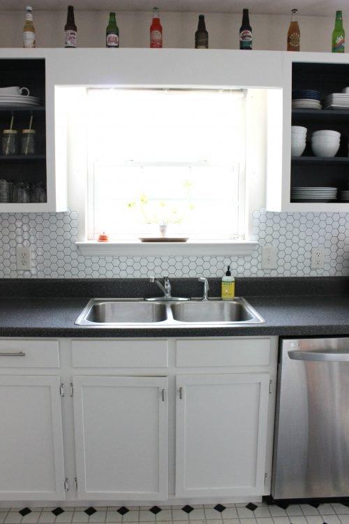 kitchen cabinet conversion open shelves