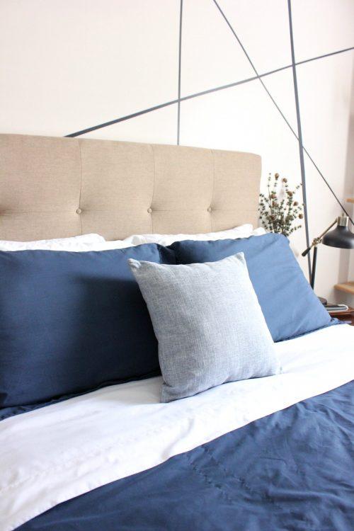blue and white modern master bedroom