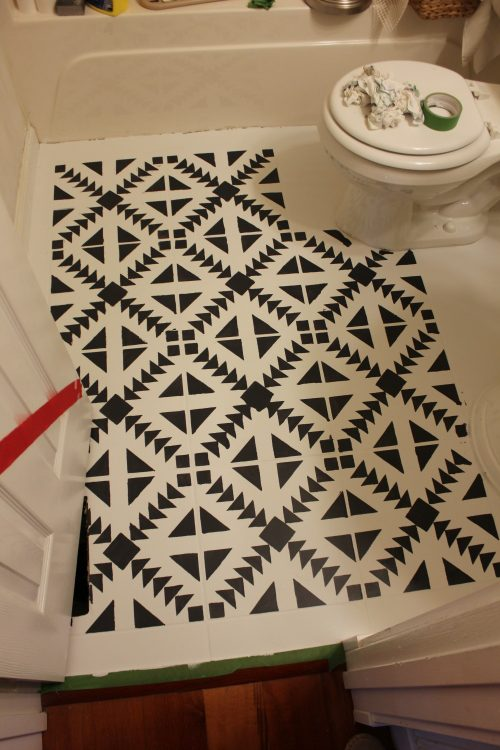 step by step process for painting tile floors with a stencil