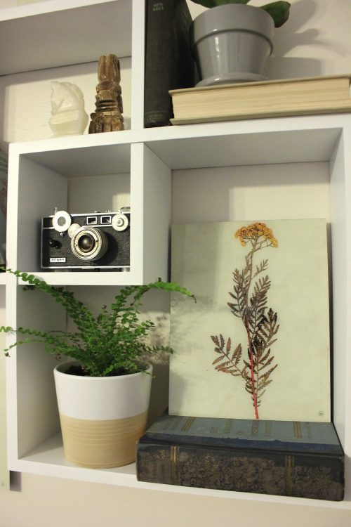 display small art in a cube shelf
