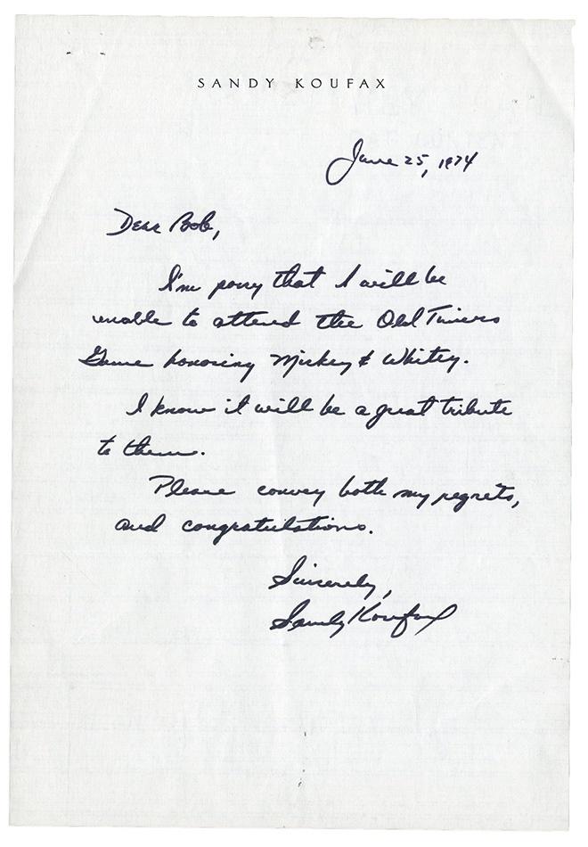 1974 Sandy Koufax Handwritten Letter Concerning Mantle