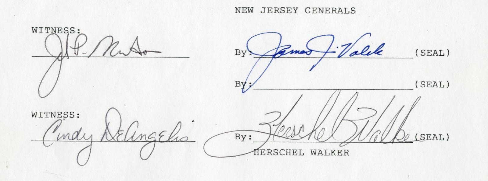 1983 Herschel Walker New Jersey Generals Signed Contract