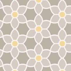Grey Yellow Living Room Design Teak Furniture Sets Blossom Geometric Floral Wallpaper - Lelands