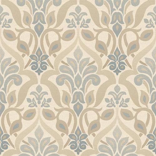 2535-20646 simple space 2 fusion ombre damask wallpaper tan beige slate blue