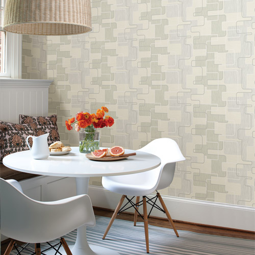 Kitchen bed bath 4 balise geometric wallpaper roomset