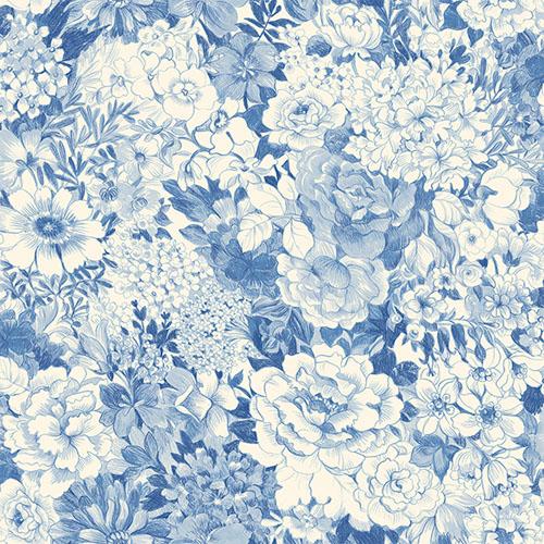 2686-21715 kitchen bed bath 4 dodge floral wallpaper blue