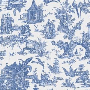 2686-21767 kitchen bed bath 4 sage toile asian wallpaper blue