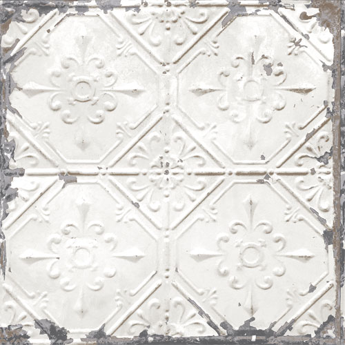 2701-22305 reclaimed distressed tin ceiling tiles wallpaper white