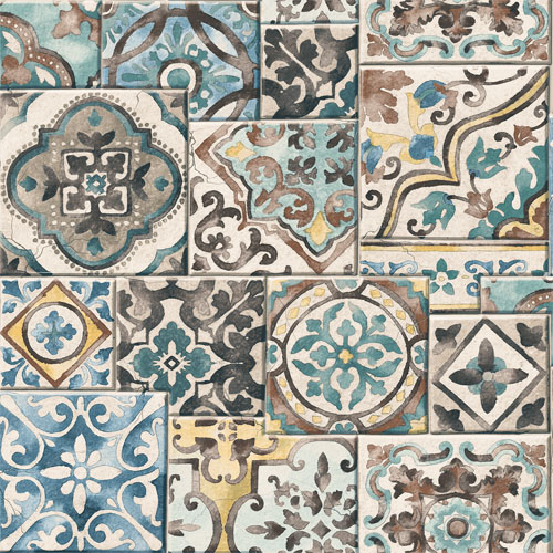 2701-22315 reclaimed marrakesh mosaic tile wallpaper teal