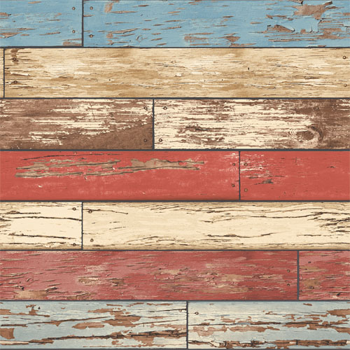 2701-22319 reclaimed scrap wood wallpaper red
