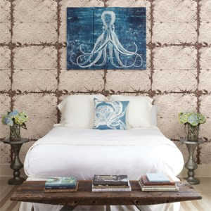 2701-22332 reclaimed distressed tin ceiling tiles wallpaper roomset