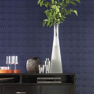 Labyrinth ahsford geometrics flocked wallpaper roomset