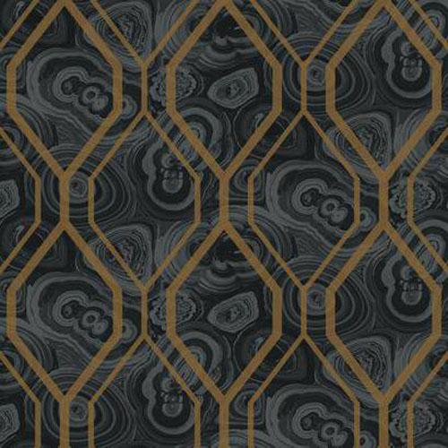 RK4500 urban chic malachite trellis wallpaper black