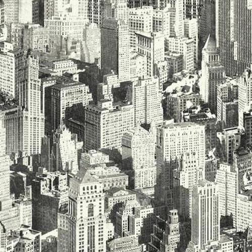 RK4507 urban chic big apple cityscape wallpaper gray black white